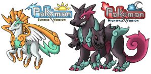 Pegazeus and Cerberades Shiny by PokemonMasta
