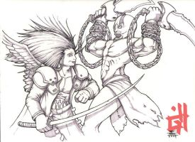 Kratos vs Sephiroth by Graphichive