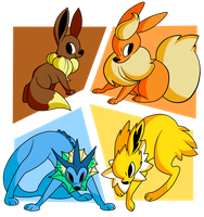 gen 1 eevees by kiki-draws