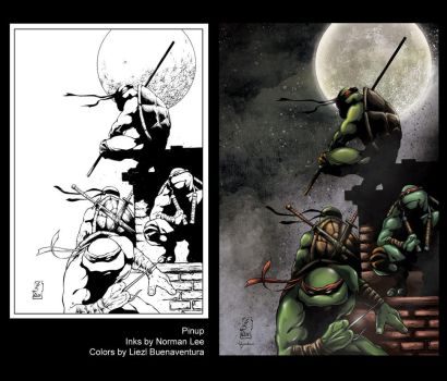 Turtles Pinup by Norman Lee by lizzbuenaventura