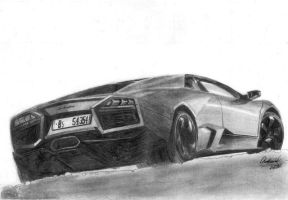 Lamborghini Reventon pencil drawing by xRINAGEx