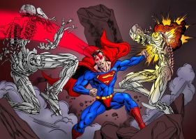 superman fighting robots by pirrobo