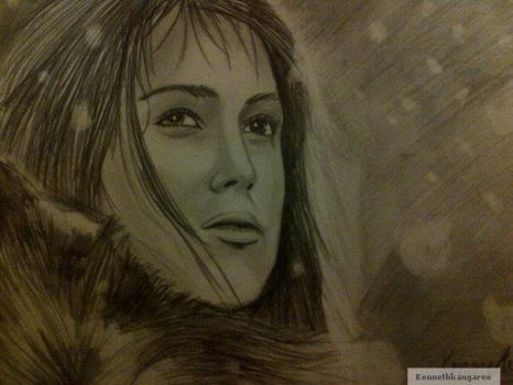 Keira Knightley Realistic Portrait Winter by kennethkangaroo