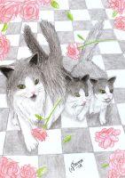 + Cats and roses + by Fallarnon