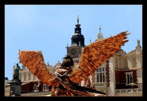 Bronze Angel On Cracow Main Square by skarzynscy