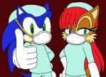Sonic and Sally in Scrubs by sammychan816