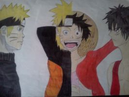 Naruto and Luffy by TheWeekend