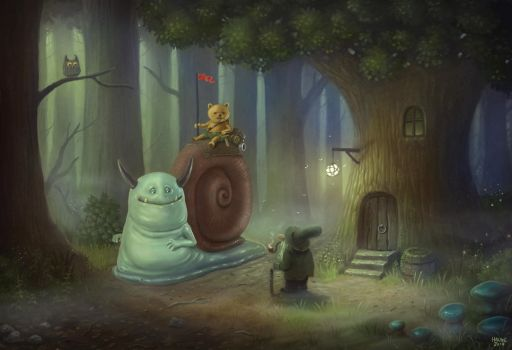 Teddy Scout and Gobb the Bull Snail by Vaghauk