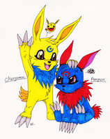 Points commish: Chenamon and Aonmon by Eddie-chan