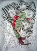 the green koi 50 percent done by JOVictory