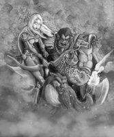 World of Warcraft: Shaman and Hunter by dmresil