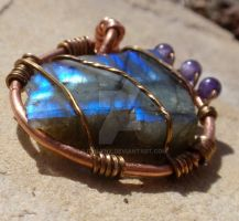 Labradorite with Amethyst by LilithLynx