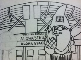 Hawaii Gnome Aloha Stadium Outline by sampson1721