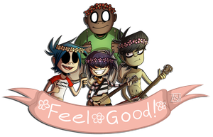 Feel Good! Gorillaz Group Sticker( + Speedpaint!) by Ashesfordayz