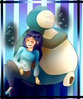 Starryeyed-doll Commission: Sleeping with Snorlax by Bigotitos