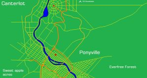 Map of Ponyville and Canterlot by Kyuubichowderfan