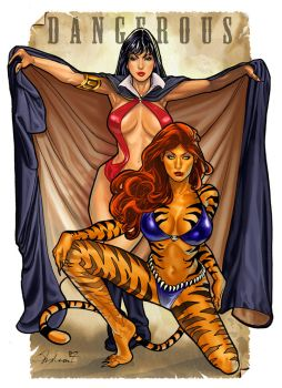 Dangerous by Overlander - Vampirella and Tigra by Wesker1984