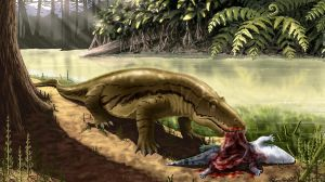 Titanophoneus eats its prey tryphosuchus. by Plioart