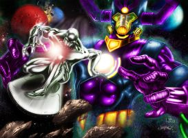 Silver Surfer and Galactus by MrWills