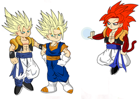 gogeta ssj 1 and 4 and vegetto by pabex
