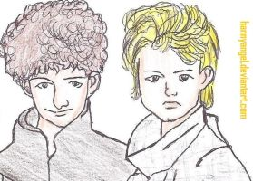 Queen, John smiling and Roger angry by HannyAngel