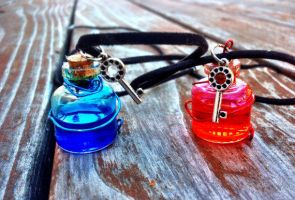 Health and Mana Necklace Set by SteamPixy