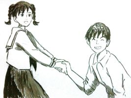[Ghibli] Shun and Umi (sumi-e) by LyDuong