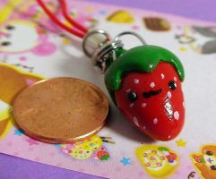 Strawberry Cell Phone Charm by PenguinsPlunder