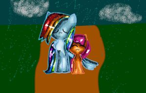 rainbow and scoot by Mapleflame2