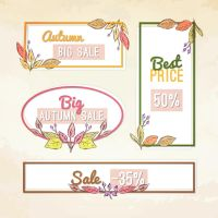 Autumnal Elements Discount Labels Vector by FreeIconsdownload
