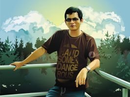 Man with Glasses in a Forest Real Vector by ndop