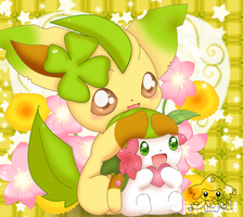 Leafeon and Shaymin by jirachicute28