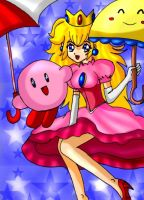 Peach and kirby falling by SigurdHosenfeld