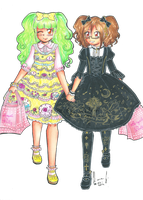 [Art Trade] Angelic Pretty Lolitas by LiloLilosa