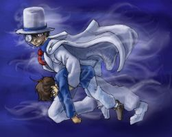 Kaitou Kid and Conan - sketch by askerian