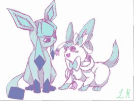 Glaceon and Sylveon (Shiny) by LadyKiraFubuki