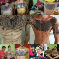 Before and after freehand chestpiece coverup by is by ThedarkParker