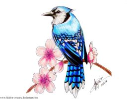 Bluejay Cherry Blossom Tattoo by Hidden-Treasury