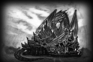 Dragon on the temple of the truth by TimHag