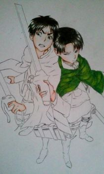 Levi and Eren WIP by Momo-Chan0