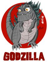 Chibi Gojira by ConstantM0tion