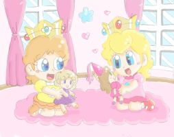 AT with Glaciliina: Baby Peach and Baby Daisy by CloTheMarioLover