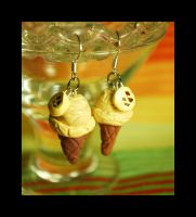 Banana Ice Cream Cone Earrings by querulousArtisan
