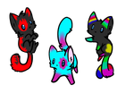 Adoptable three cats CHEAP PRICE by InuyashaGoldensEyes