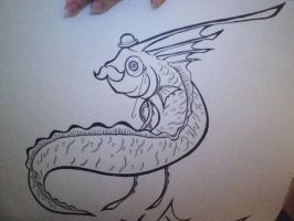 Sir Ribbons the Oarfish! (uncolored and Uncut) by AmericanBlackSerpent