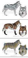 Adoptable wolf designs for sale (SOLD) by NatsumeWolf