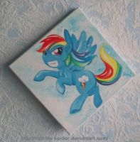 Rainbow Dash living on the edge (of a painting) by Ruzi-the-Spider