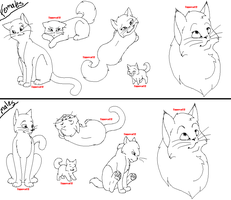 lineart set1 -cats- by tiggercat12