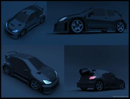 peougeout 206 wrc collage by kenns