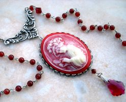 Carnelian Agate Cameo Necklace by Aranwen